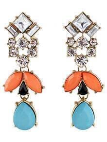 Blue Red Gemstone Gold Drop Earrings