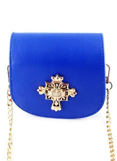 Blue Metal Embellished PU Bag