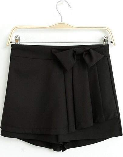 Black Bow Embellished Straight Shorts