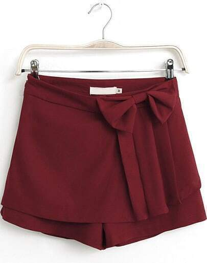 Red Bow Embellished Straight Shorts