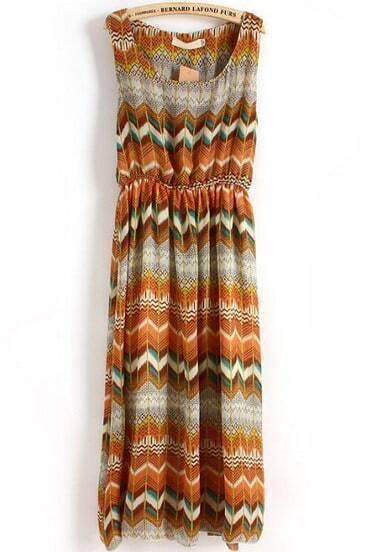 Yellow Sleeveless Vintage Geometric Print Pleated Dress