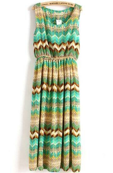 Green Sleeveless Vintage Geometric Print Pleated Dress