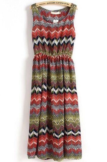 Red Sleeveless Vintage Geometric Print Pleated Dress
