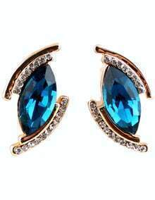 Blue Gemstone Gold Diamond Eye Earrings
