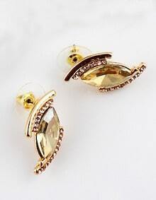 Yellow Gemstone Gold Diamond Eye Earrings