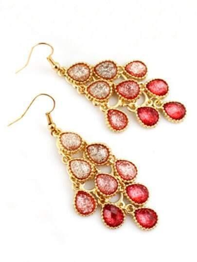 Red Gradients Drop Gemstone Dangle Earrings