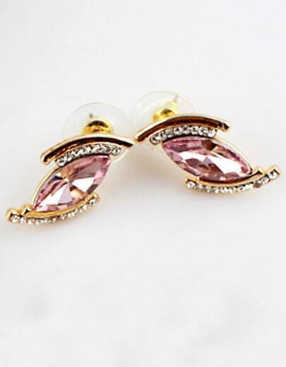 Pink Gemstone Gold Diamond Eye Earrings