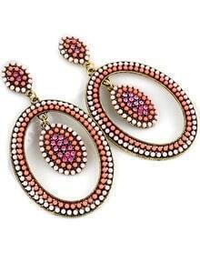 Red Bead Circle Earrings