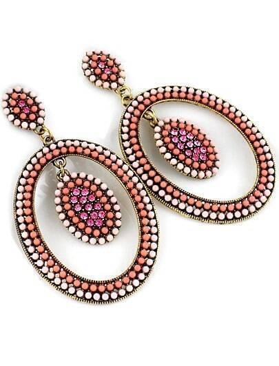 Red Bead Circle Earrings