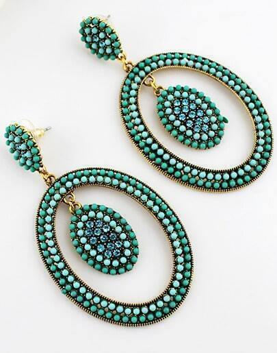 Green Bead Circle Earrings