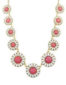 Red White Gemstone Flower Gold Chain Necklace