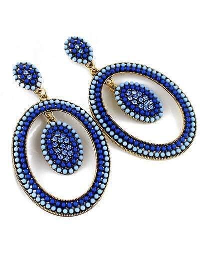 Blue Bead Circle Earrings