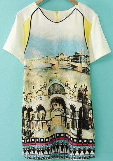 Yellow Short Sleeve Vintage Building Print Dress