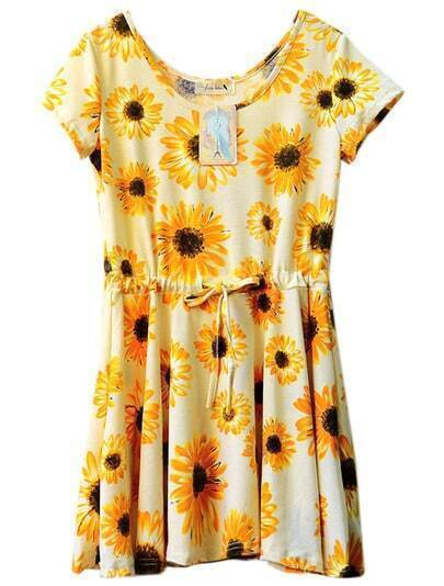 Yellow Sunflower Print Drawstring Dress