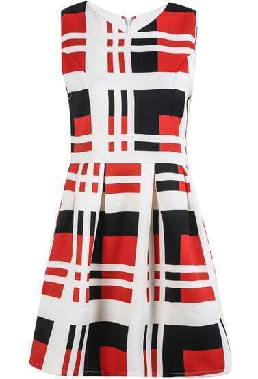 White Red Sleeveless Vintage Plaid Dress