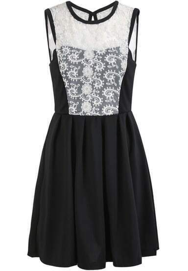 Black Sleeveless Contrast Lace Embroidered Dress