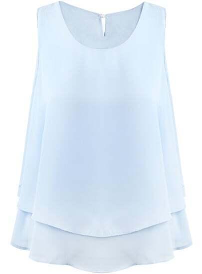 Blue Sleeveless Double Layers Chiffon Vest