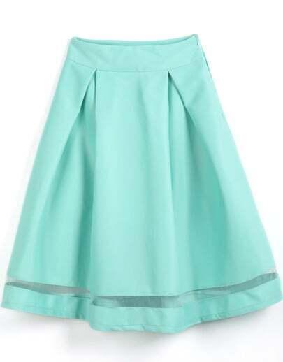 Falda plisada combinada gasa-verde