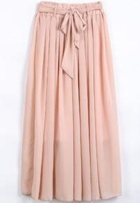 Pink Elastic Waist Drawstring Pleated Chiffon Skirt
