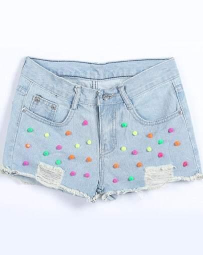 Light Blue Ripped Rivet Denim Shorts