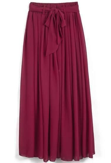 Red Elastic Waist Drawstring Pleated Chiffon Skirt