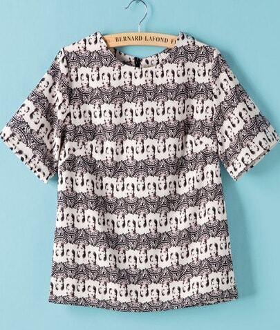 Black White Short Sleeve Beauty Print Blouse