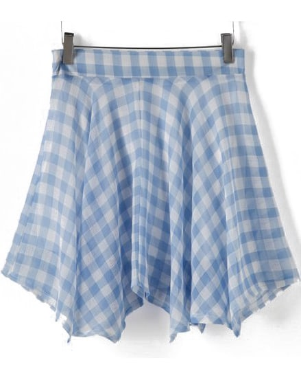 blue plaid chiffon pleated skirt shein sheinside