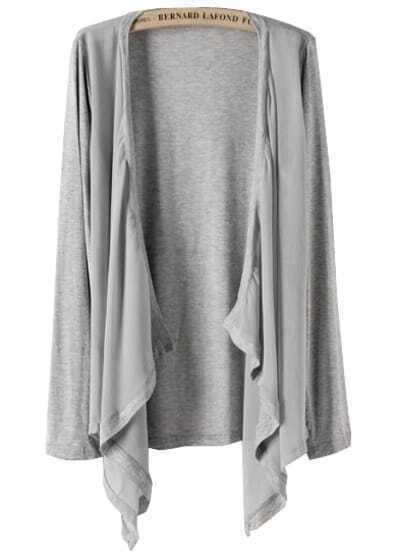 Grey Long Sleeve Contrast Chiffon Knit Cardigan