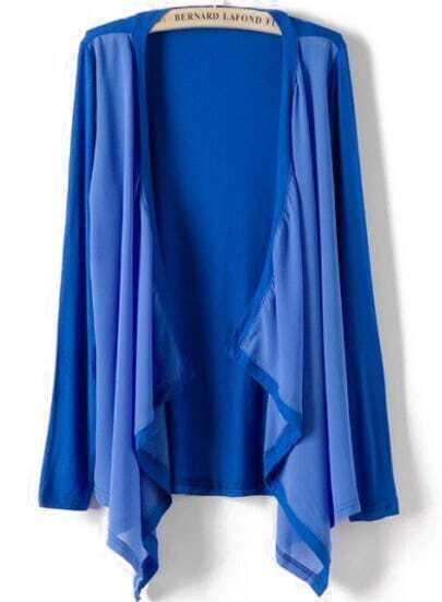 Blue Long Sleeve Contrast Chiffon Knit Cardigan