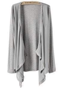 Grey Long Sleeve Contrast Chiffon Knit Cardigan