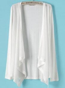 White Long Sleeve Contrast Chiffon Knit Cardigan