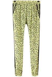 Yellow Leopard Print Loose Pant
