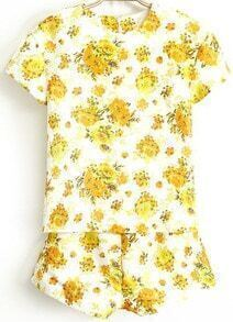 Yellow Short Sleeve Floral Top With Shorts