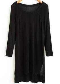 Black Long Sleeve Asymmetrical Knit Sweater