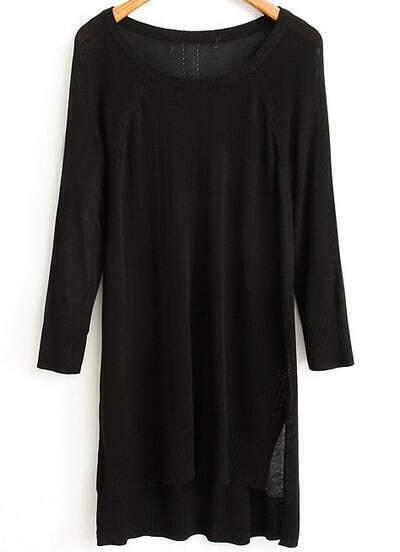 Black Long Sleeve Asymmetrical Knit Sweater