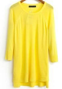 Yellow Long Sleeve Asymmetrical Knit Sweater
