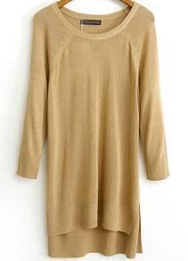 Khaki Long Sleeve Asymmetrical Knit Sweater