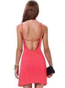 Pink Spaghetti Strap Backless Loose Dress