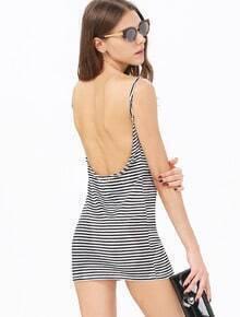 Black White Striped Spaghetti Strap Backless Dress