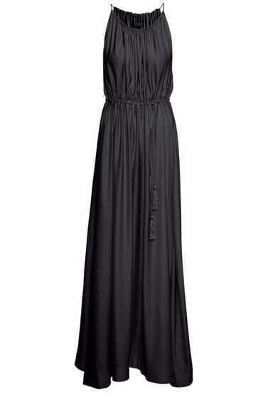Black Georgette Spaghetti Strap Drawstring Modest Pleated Dress