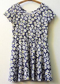 Navy Camellias Print Drawstring Dress