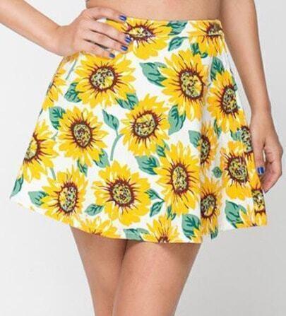 Yellow Sunflower Print Pleated Dress