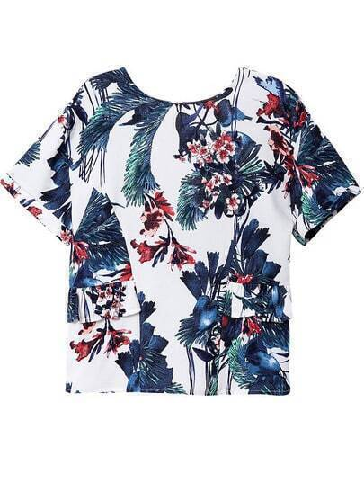 White Short Sleeve Backless Floral Blouse