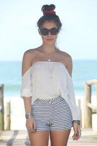 White Long Sleeve Off Shoulder Blouse