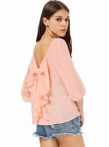 Peach Long Sleeve Bowknot Backless Blouse