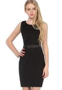 Black Sleeveless Slim Belt Split Dress