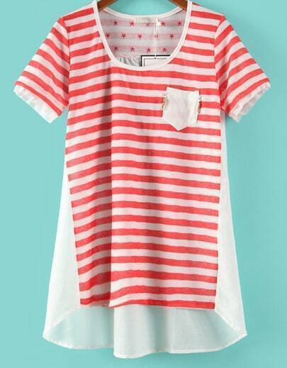 red and white stried short sleeve contrast chiffon back t