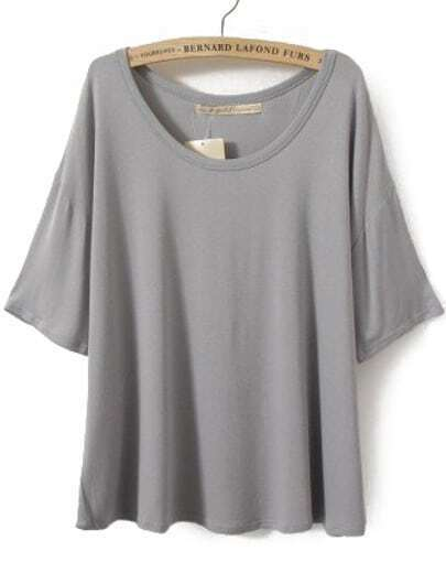 Grey Batwing Sleeve Plain Crop T-shirt