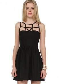 Black Spaghetti Strap Hollow Slim Dress