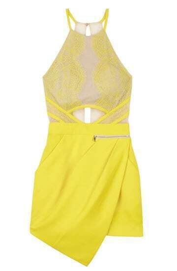 Yellow Sleeveless Overlay Lace Asymmetric Hem Jumpsuit